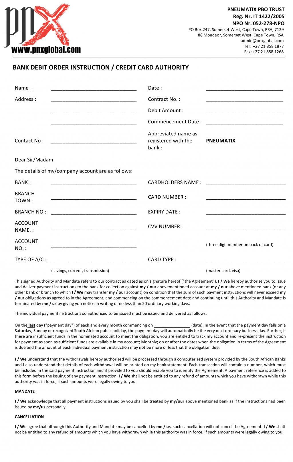 Pledge Form/Debit Order Form - Performing Arts Academy